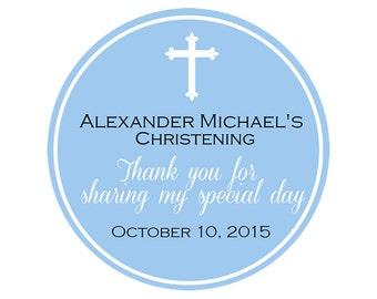 """Custom Christening Labels -  Baptismal Labels - Baby Boy - Confirmation Labels  - Choose color -  1.5"""", 2"""" or  2.5"""" round labels"""