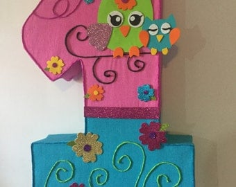 number owl hot pink pinata. Owl birthday party. owl party decoration.