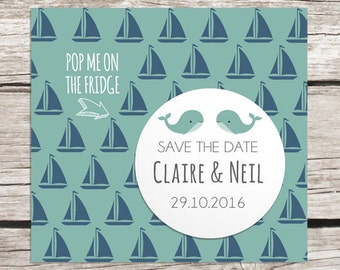 Sea themed wedding - save the date magnet - whale, boats
