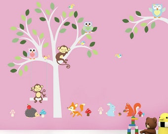 Removable Wall Stickers - White Tree with sleeping Monkey - AW1224