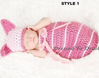 Baby Girl Crochet Piglet Hat Beanie Diaper Cover Outfit Set.  Photography Props HOT PINK & PINK