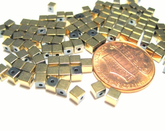 1 Strand Gold Hematite Cube Beads 3mm Non-Magnetic