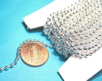 Bright Silver Plated Smooth Ball Chains 2.4mm (No.780)