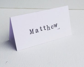 Wedding - Party - Hand Stamped - Vintage Style - Typewriter Letters - Place Name Cards - Made to Order - Place Settings