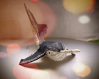 Narwhal Paper Model Handmade from recycled book pages - handpainted art decoration sculpture - MADE TO ORDER