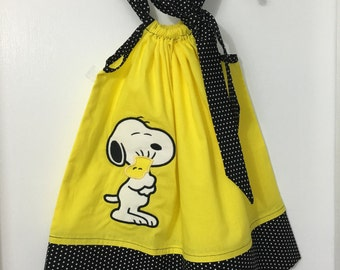 Custom Made Pillowcase Dress Solid Yellow with Snoopy of Charlie Brown  and Black w/white bebe Dot Hem & Ribbon-Sizes NB-8 y/o