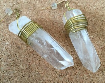 Extra Large Crystal Earrings - Rough Cut Gems - Clear, Gold, Dangling Earrings