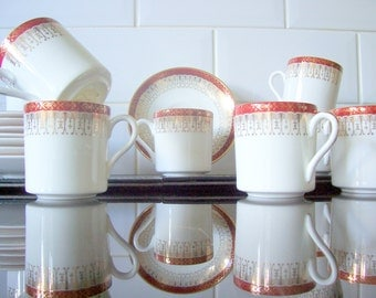 Set of six Royal Grafton Red Majestic Coffee Cup / Can 1950's