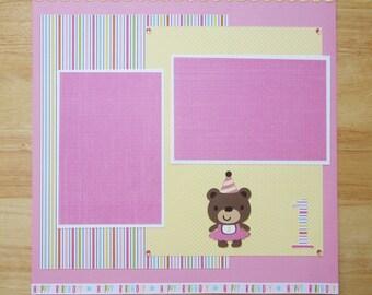 First Birthday Scrapbook Page - Girl Birthday Scrapbook Layout - 12 x 12 Scrapbook - Birthday Party - Birthday Photos - Cricut Birthday Bear