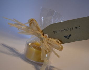 25 custom beeswax tealight favors, custom kraft tag, natural raffia treated and fire resistant, natural favor, meant to bee, bride to bee,