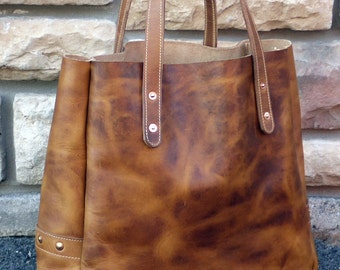 """Soho 15"""" Mailbag Tote, Brown Dublin Horween Leather Tote Bag - Introductory Special!"""