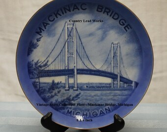 Vintage State Collectors Plate - Mackinac Bridge, Michigan - 8 1/4 Inch