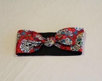 Red Dia De Los Muertos Head Scarf Women's 1940's style vintage inspired retro head wrap rockabilly headband Day of the Dead sugar skull