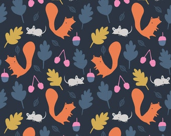 Fabric - Cloud 9 - Laminated cotton - Woodland Critters Navy