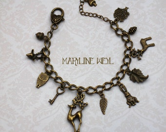 "charm bracelet charms bronze ""spirit of the forest"""