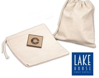 "8"" x 8""  Natural Cotton Canvas Drawstring Bag, Reusable Fabric Bag, Eco-friendly Grocery Bag, Supply"