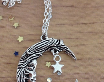 Large silver Moon and star Celestial necklace on a long chain