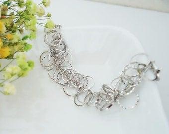 267.  Ring bunch bracelet - Original Rhodium Plated , Silver color