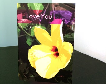 Yellow Hibiscus Love You Card