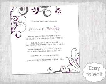 """Square Wedding invitation templates charcoal gray and plum """"Scroll"""" printable invitations 6x6 inch - YOU EDIT Word digital instant download"""