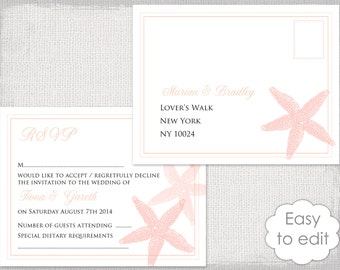 "Beach RSVP postcard template ""Starfish"" Destination printable response card Coral /peach  DIY digital YOU edit download"