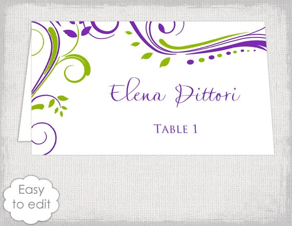 escort card template apple green and purple scroll. Black Bedroom Furniture Sets. Home Design Ideas