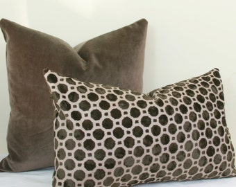Brown geo velvet pillow cover. Brown lumbar pillow. 12x20 velvet pillow 13x20 velvet pillow 14x20 velvet pillow Robert Allen lumbar pillow