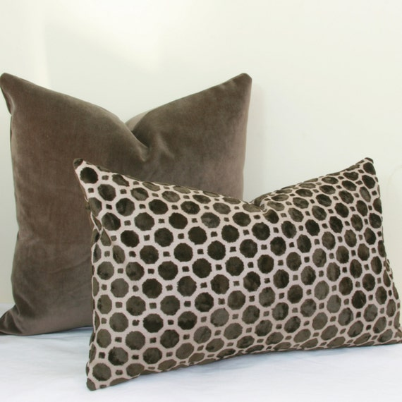 Brown Geo Velvet Pillow Cover Brown Lumbar Pillow 12x20