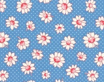 Daisies - Blue Jay (31281-70) by Lecien Cotton Fabric Yardage Floursack Retro Fabric