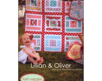 Pattern - Lillian and Oliver Baby Quilt, Burp Cloth and Bib Set by Kati Cupcake (KCP151) Paper Pattern