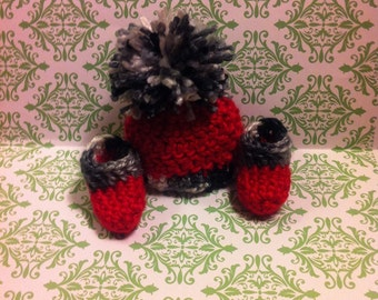 Micro Preemie Hat and Booties, Red Hat,  Other Sizes Available Upon Request