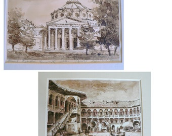 Two Sepia and Pen & Ink Drawings of old Bucharest Signed and Framed