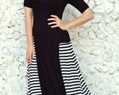 Black Striped Maxi Dress TDK180, Loose Maxi Dress, Black Maxi Dress with Stripes, Summer Dress