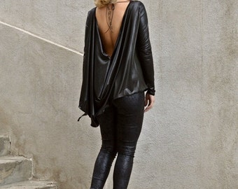ON SALE 25% OFF Black Asymmetrical Tunic / Black Ponte Di Roma Tunic / Black Backless Top / Backless Loose Top Tt70