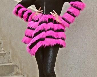ON SALE 40% OFF Black Wool Coat / Black Cashmere Winter Coat / Fantasy Fur Coat / Winter Coat with Fantasy Fur Tc58