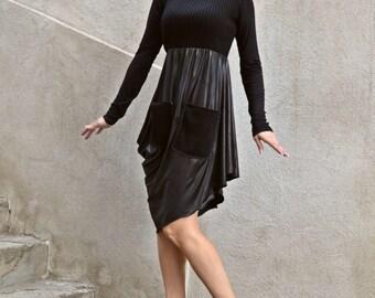 Black Dress / Black Asymmetrical Dress / Flared Asymmetrical Ponte Di Roma Dress / Black Ponte Di Roma Dress TDK155