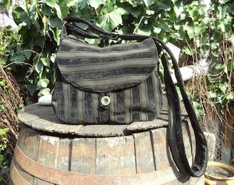 Black and olive striped shoulder bag,buttoned bag