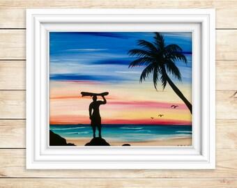PRINT - Surf Art - Beach Wall Decor - Beach House Decor - Coastal Decor - Original Artwork - Fine Art - Acrylic Painting - Beach Wall Decor