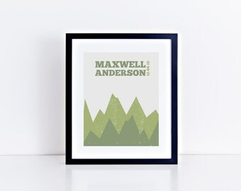 Custom Personalized Rustic Mountain Nursery Print, Printable Art, Digital Print