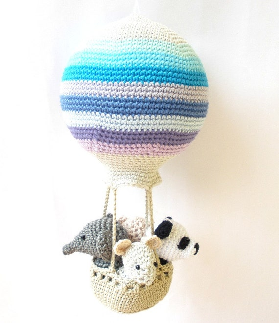 Hot air balloon nursery decoration with crochet animals in blue, mint, gray and purple stripes