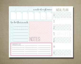 Command Center Home Weekly Organization Printable - Meal Plan Sheet - To Do - Grocery List - Weekly Calendar - Pink Floral Aqua