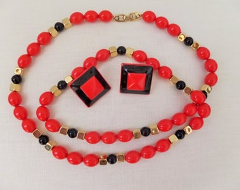 Vintage Napier Necklace Earrings Set Bright Red Orange Black with Gold Designer Jewelry