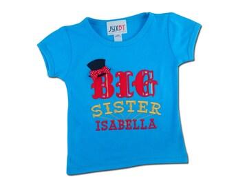 Girl's Circus Shirt with 'Big Sister' and Embroidered Name