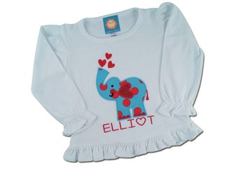 Girl Elephant Shirt with Embroidered Name
