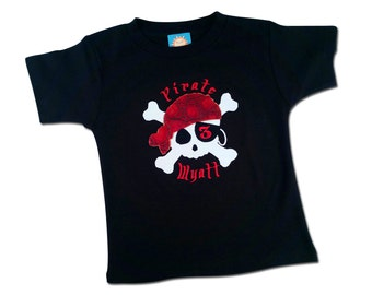 Pirate Birthday Shirt with Number and Embroidered Name