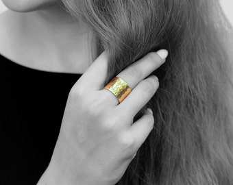 Gold ring,hammered ring,wide ring,handmade ring,wide band,gold filled ring,gold hammered band,simple ring