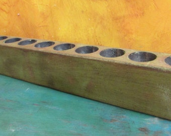 Large Sugar Mold Candleholder-Old Mexican-Rustic-Wood-Sugarmolds-Primitive-Wooden-Olive Green