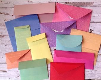 handmade envelopes, set of 12 envelopes, envelopes, mini envelopes, envelope set, sample pack
