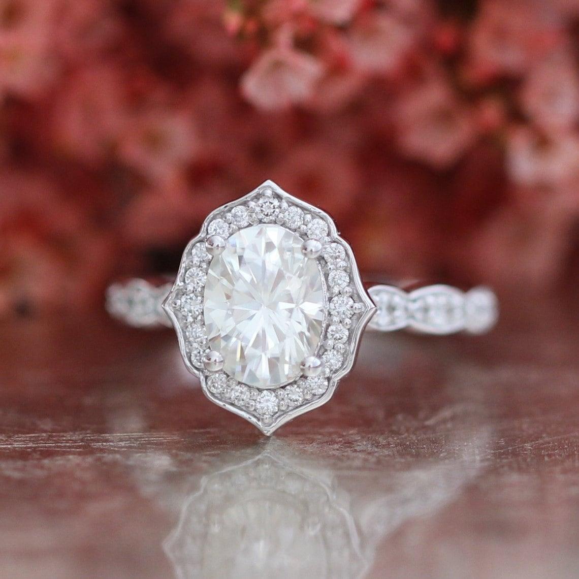 forever one moissanite vintage floral engagement ring in 14k. Black Bedroom Furniture Sets. Home Design Ideas