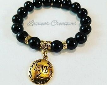 Love is Patient and Kind Charm Bracelet, Black Beaded Bracelet, Corinthian